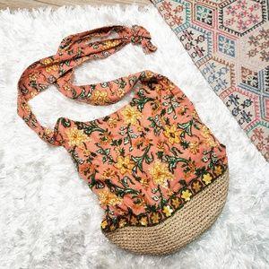 Anthropologie Sequin Floral Crossbody Bucket Bag